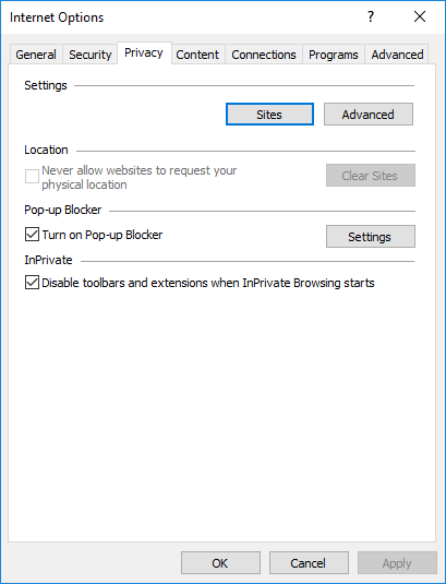 Internet Explorer Options - Privacy Tab